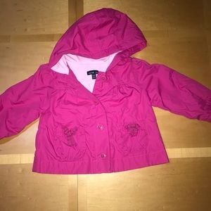 Gap Kids Bright Pink Hooded Windbreaker Raincoat